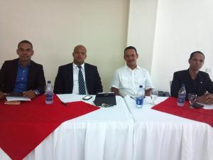 Dirigentes de la CNJE en la rueda de prensa.