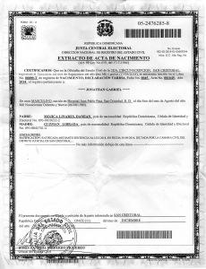 Acta de Nacimiento Jonathan Mojica.
