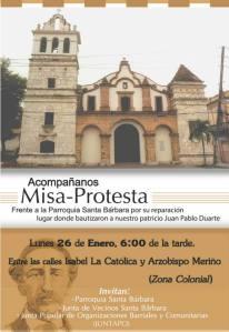 Afiche de promoción de la misa-protesta.