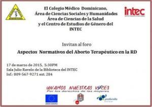 Invitación Foro sobre Aspectos Normativos del Aborto Terapéutico en la RD.