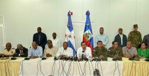 Los dos cancilleres en la rueda de prensa. Foto cancillería dominicana.
